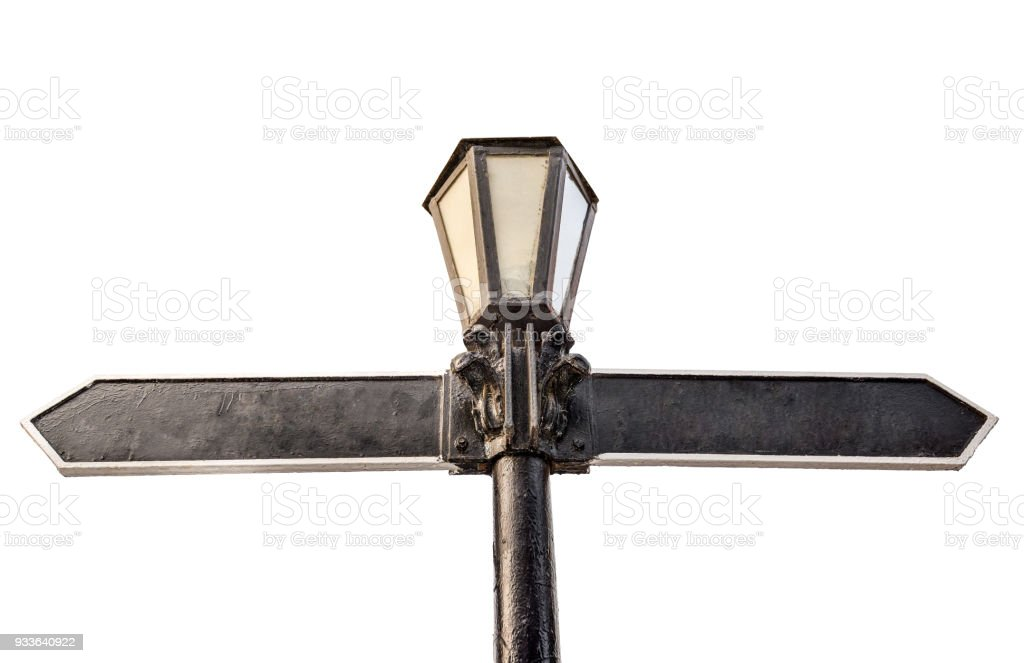 Blank directional arrow on street light isolated on white.  Metal retro lamp as direction sign. Direction road signs, two empty blank signpost or roadside guidepost pointer. Direction concept stock photo