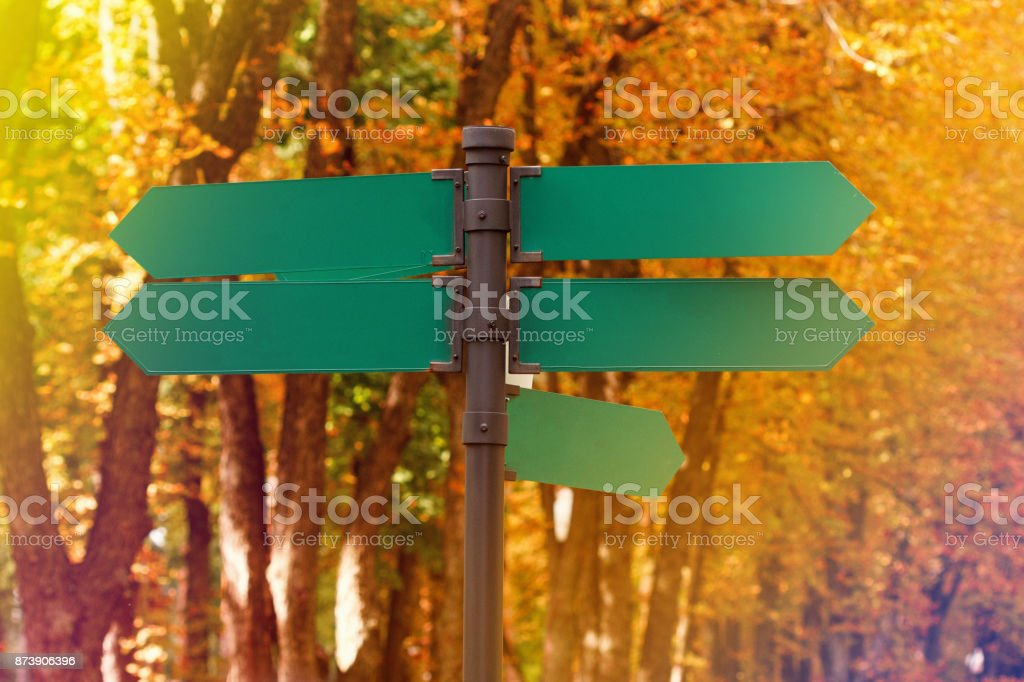 Blank directional road signs against autumn foliage. Green metal arrows on the signpost. stock photo