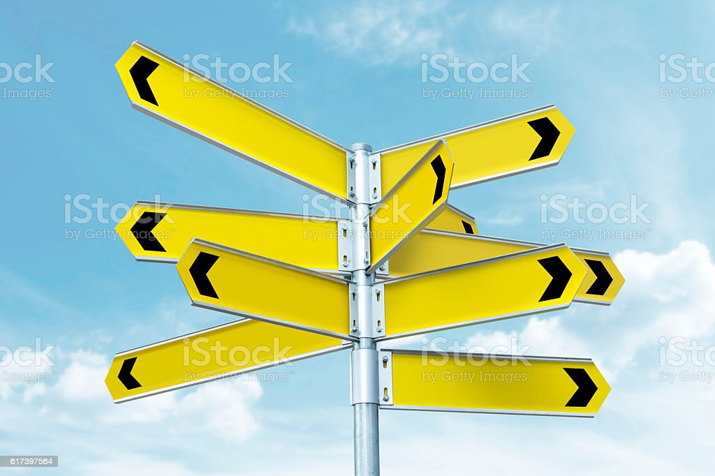 Blank directional signs stock photo