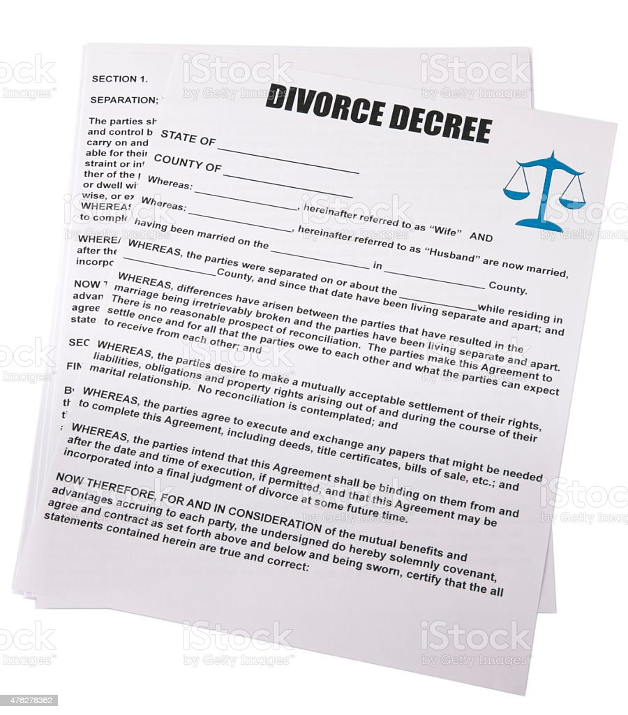 Blank Divorce Decree White Background With Clipping Path Stock Photo  476278362 | IStock  Blank Divorce Decree