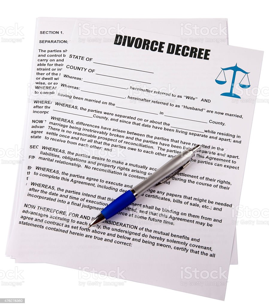 Blank Divorce Decree With Pen White Background Clipping Path Stock