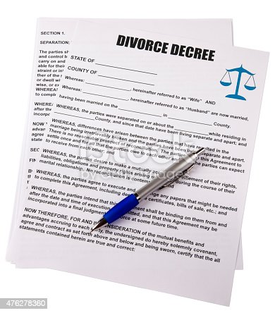 Blank Divorce Decree With Pen White Background Clipping Path Stock ...
