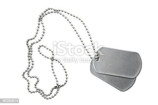Military dogtags isolated on white.