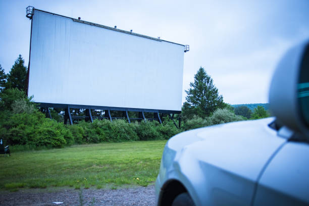Blank drive-in movie screen stock photo