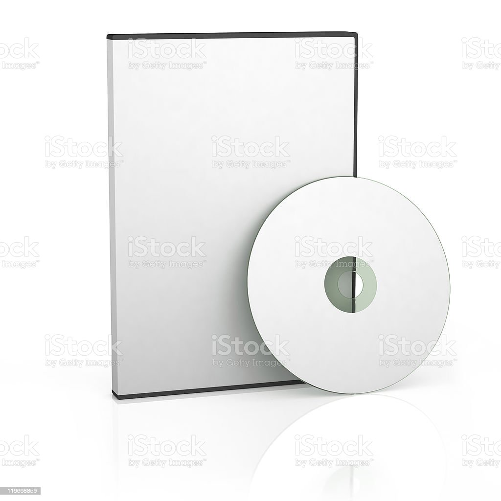 Blank DVD and case on a white background stock photo
