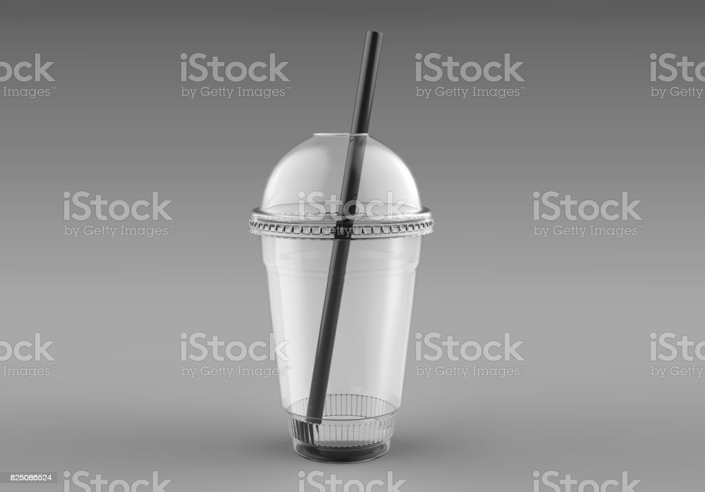 Blank Empty Disposable Plastic Milkshake Cup With Lid and straw....