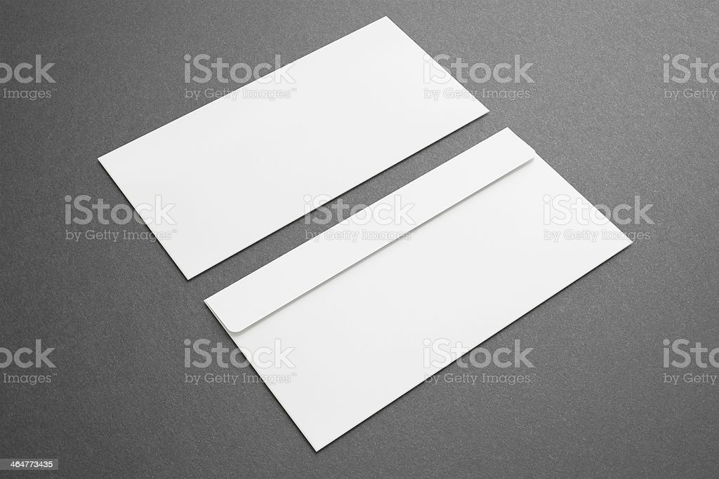 Blank envelopes on dark background stock photo