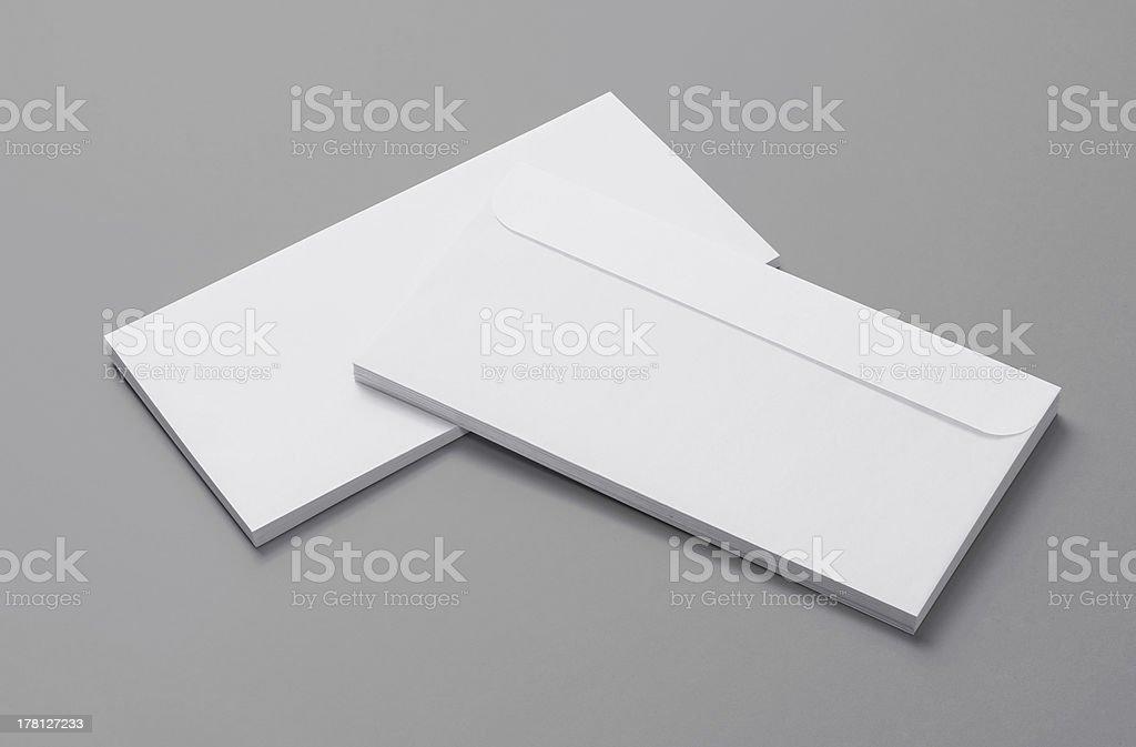 Blank envelopes on grey background royalty-free stock photo