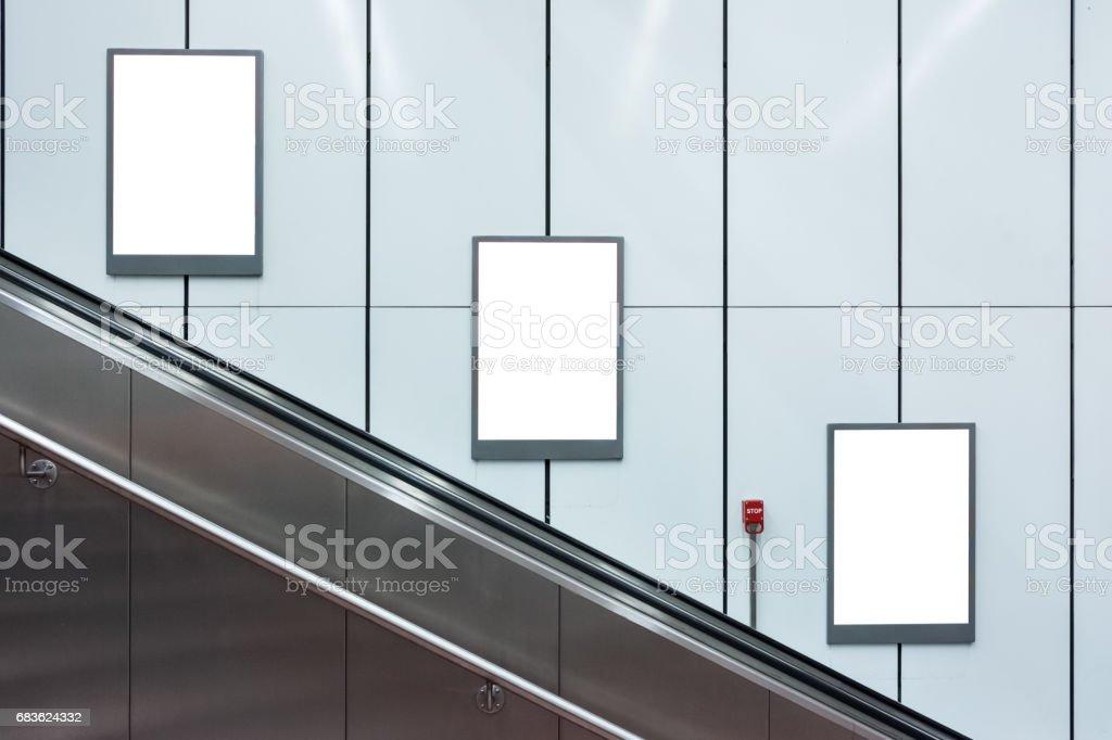 Blank Escalator Subway Advertisements Three Copyspace White Isolated Interior Urban stock photo