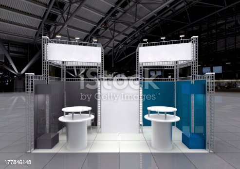 modern exhibition stand with blank banners