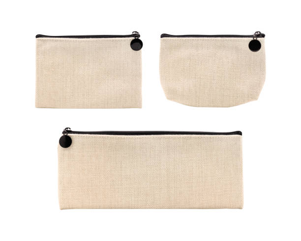 Blank fabric bag isolated on white background. Set of linen bag for design. ( Clipping path ) stock photo