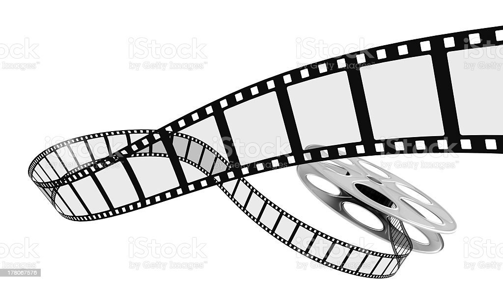 A blank film reel on a white background stock photo