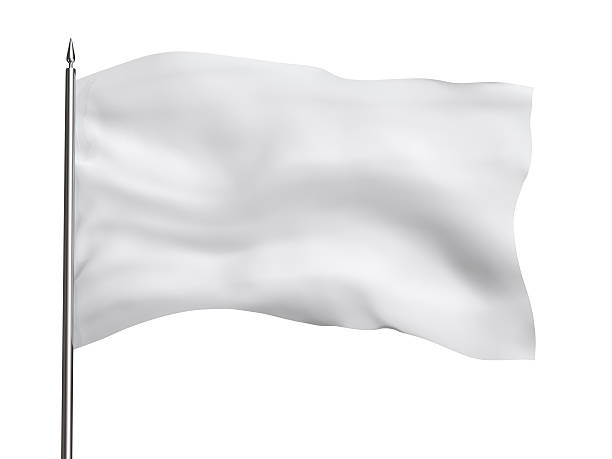 Blank flag, isolated on white, with clipping path stock photo