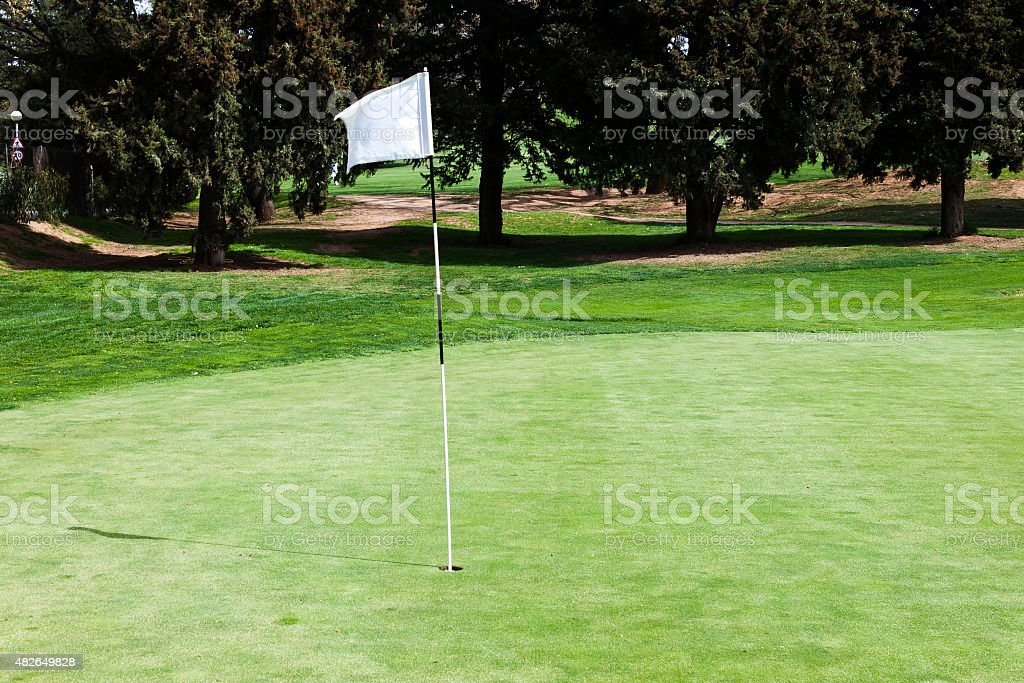 Blank flagstick on a putting green in a golf course. stock photo