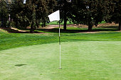 Blank white flagstick in the hole on a putting green  in a golf course.