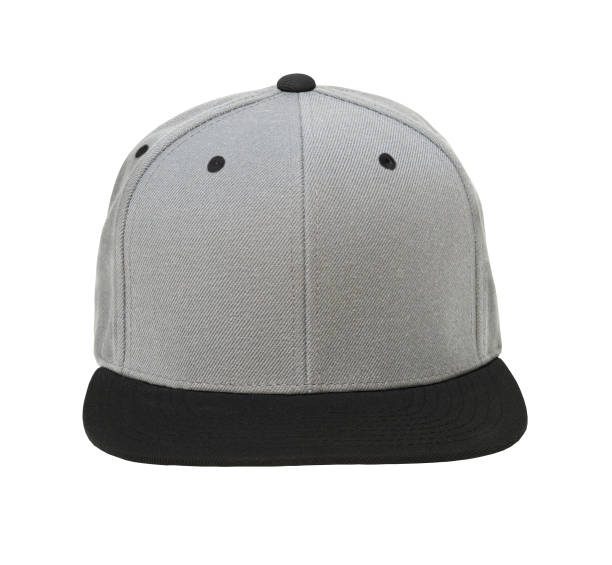 Blank flat snap back grey/black hat front view on white background stock photo