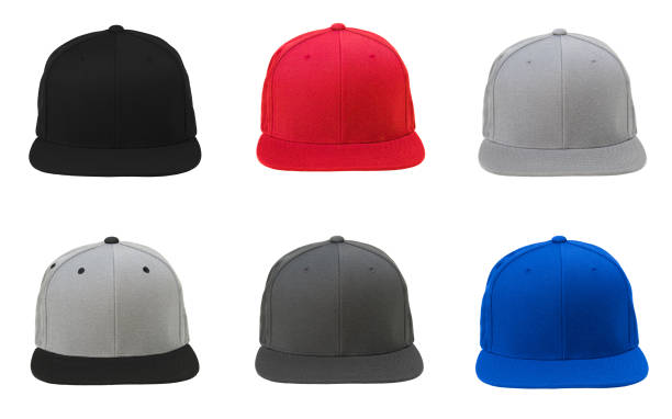 Blank flat snap back hat 6 set stock photo