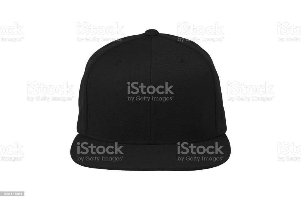 Blank flat snap back hat black front view stock photo