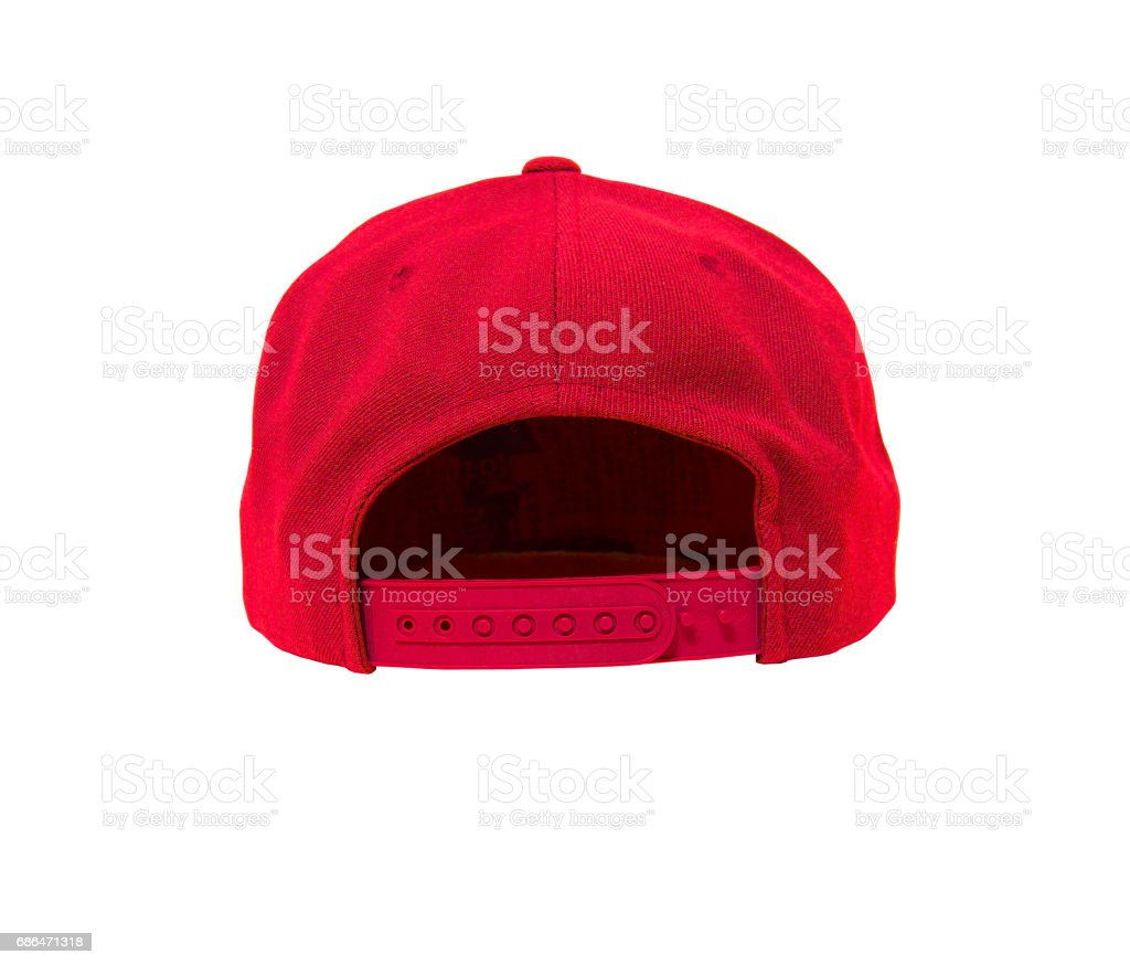 blank flat snap back hat red back view stock photo