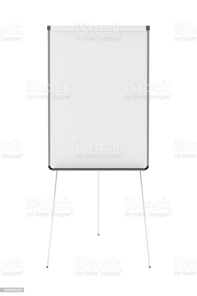 Blank flip chart standing stock photo