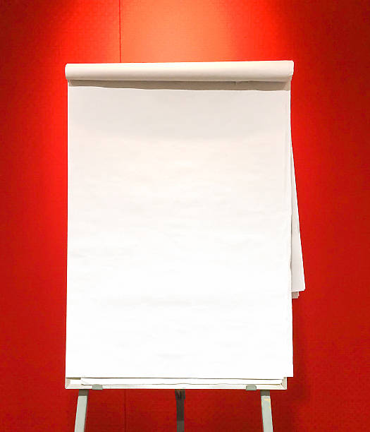Blank Flip Chart with Lamp Shade on Red Background Blank Flip Chart with Lamp Shade on Red Background used as Template flipchart stock pictures, royalty-free photos & images