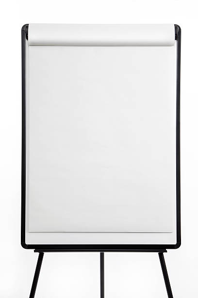 Blank flipchart board isolated on white background Paper flipchart on easel. flipchart stock pictures, royalty-free photos & images
