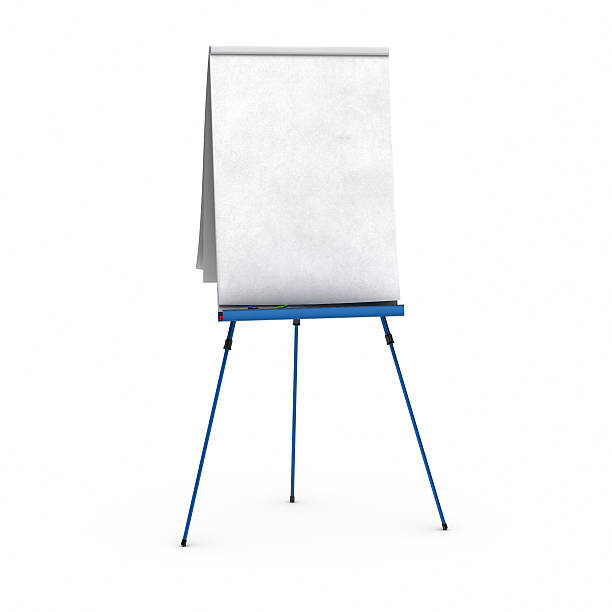 blank flipchart blank flipchart over white background view of the front side, with red, blue, and green pens, small shadows at the bottom flipchart stock pictures, royalty-free photos & images