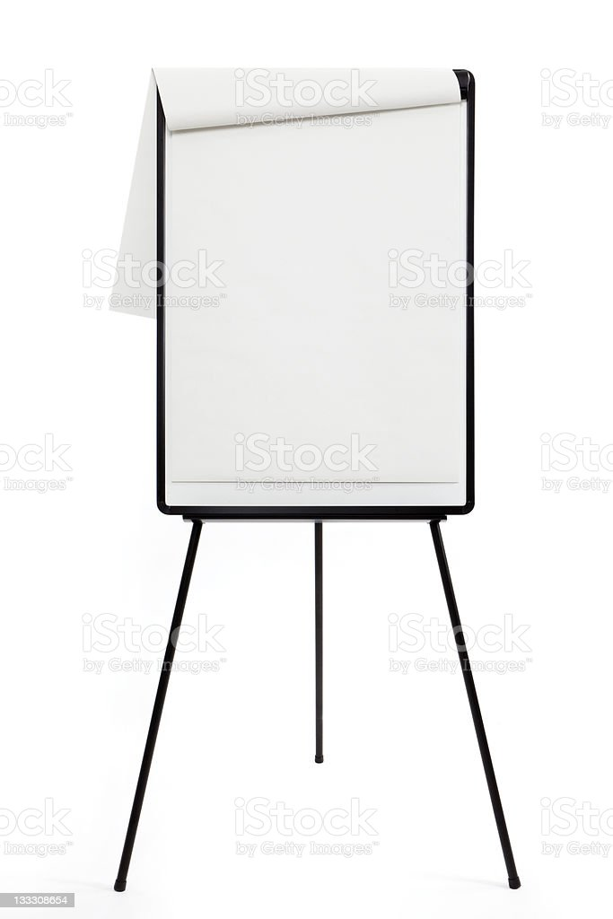 Blank flipchart with easel on white background stock photo