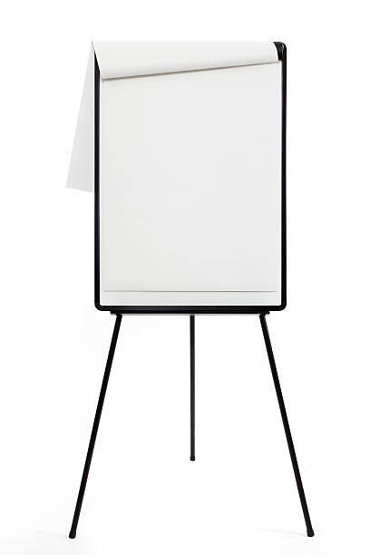 Blank flipchart with easel on white background A1 Flipchart on easel flipchart stock pictures, royalty-free photos & images