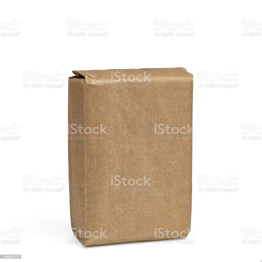 Blank flour bag stock photo