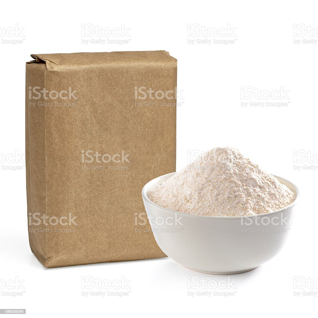 Blank flour pack stock photo