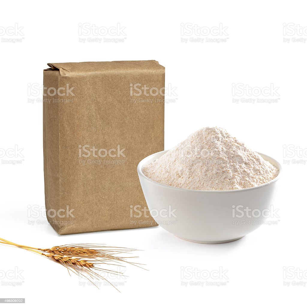 Blank flour package and bowl stock photo