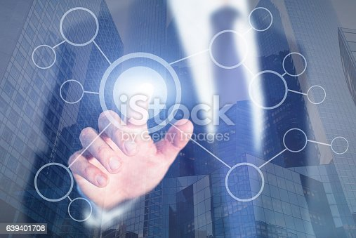 istock blank flow chart on abstract touch screen 639401708