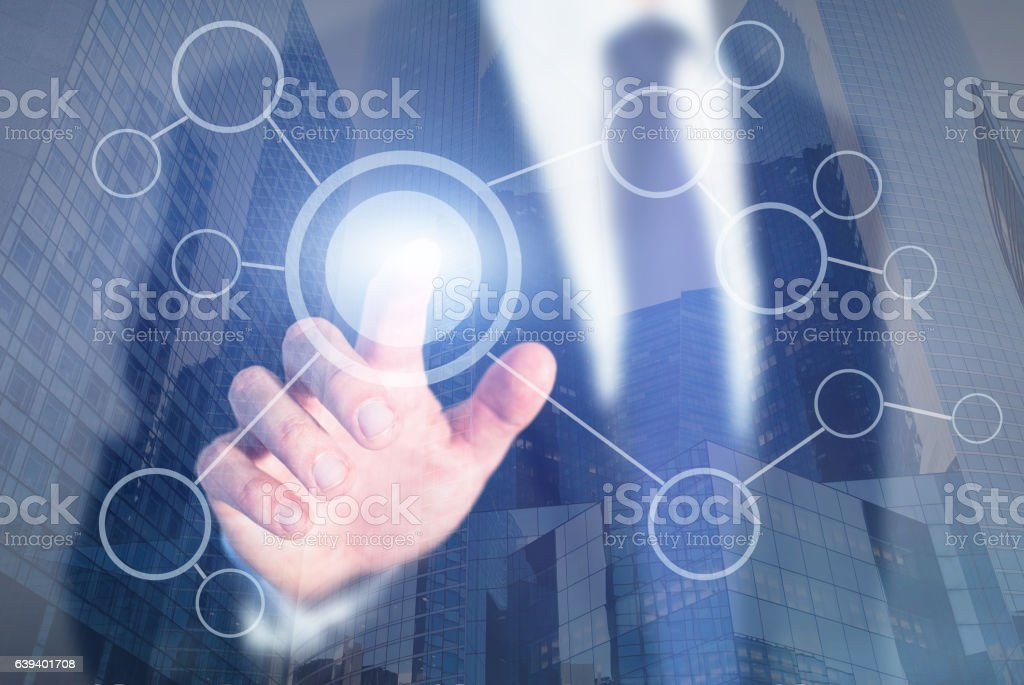 blank flow chart on abstract touch screen stock photo