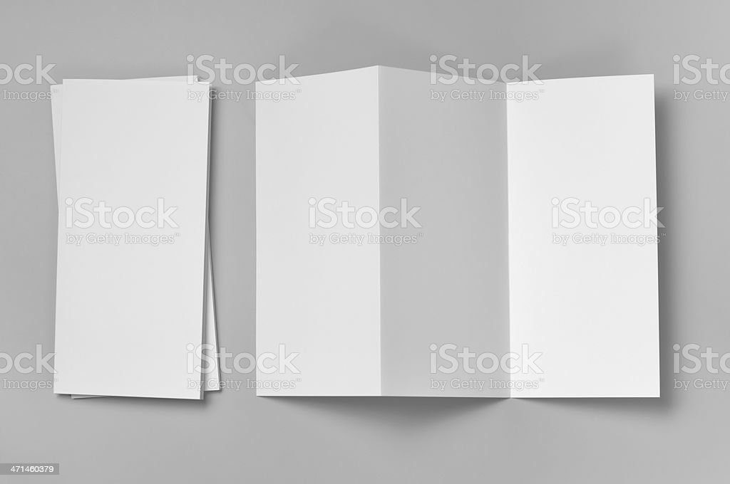 Blank flyer, 6-page, Z-fold (Accordion) stock photo