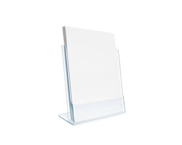 Blank flyer mockup glass plastic transparent holder isolated stock photo