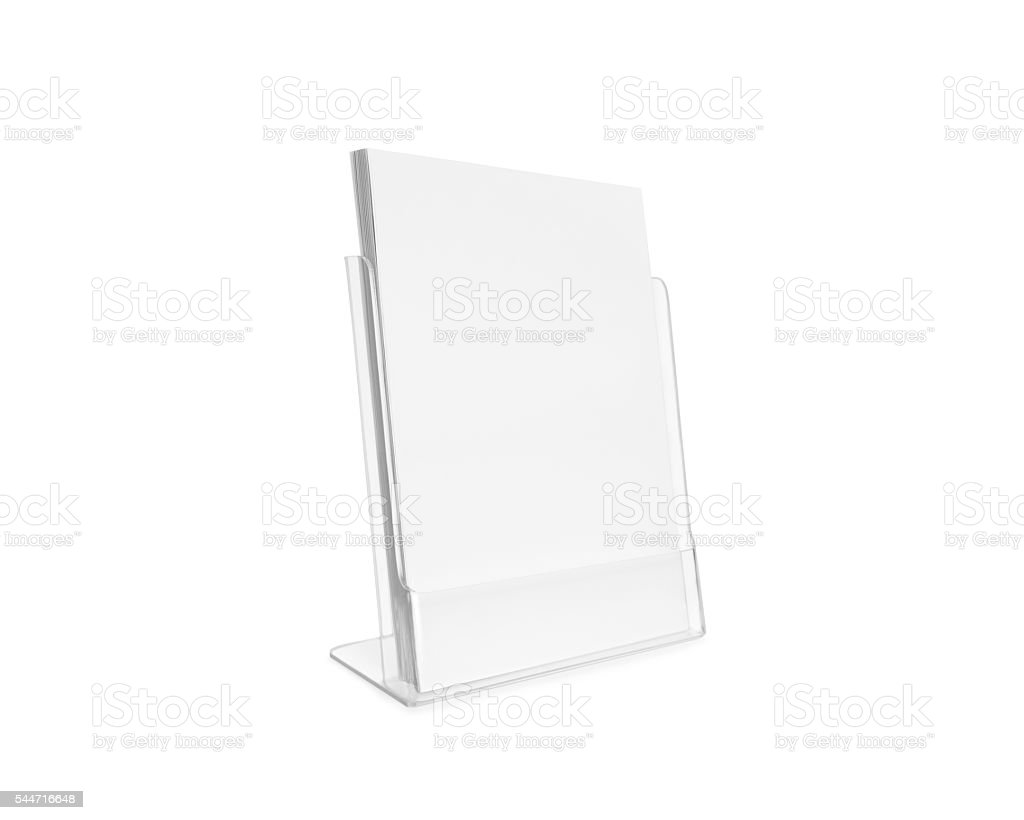 Blank flyer mockup glass plastic transparent holder isolated. stock photo