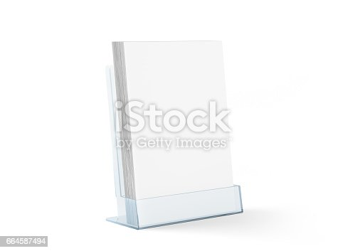 istock Blank flyer mockup glass plastic transparent holder isolated 664587494