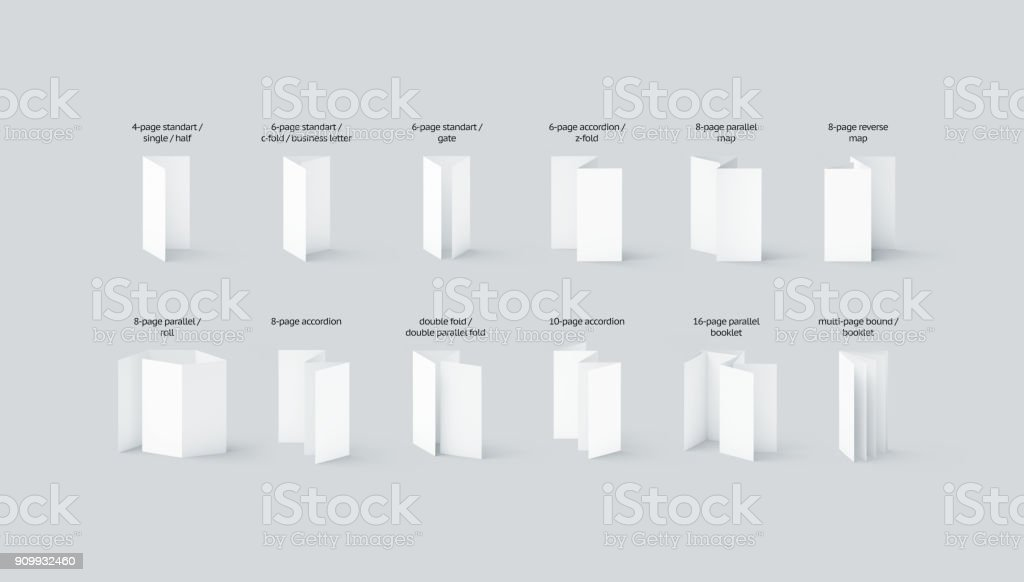 Blank flyers and booklets mockups types set with names stock photo