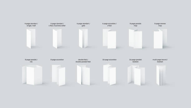 Blank flyers and booklets mockups types set with names - foto stock