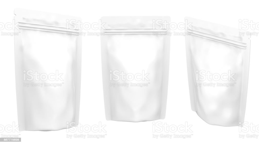blank foil plastic white coffee bag isolated on white background