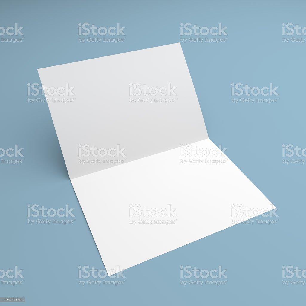 Blank Folded Flyer Booklet Postcard Business Card Or Brochure Stock ...