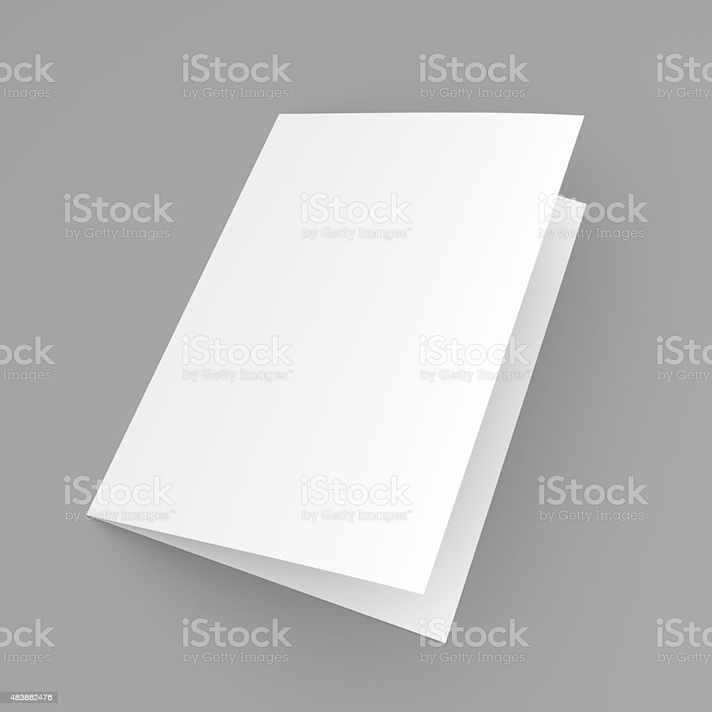 Blank folded flyer, booklet, postcard, business card or brochure stock photo
