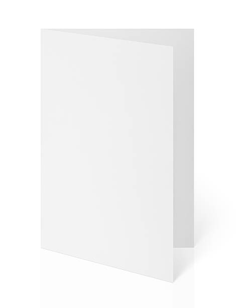 blank folded flyer on white - postcard template stock photos and pictures