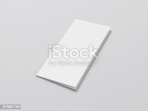 istock Blank folded paper Leaflet or Flyer mock up on gray background 919887194