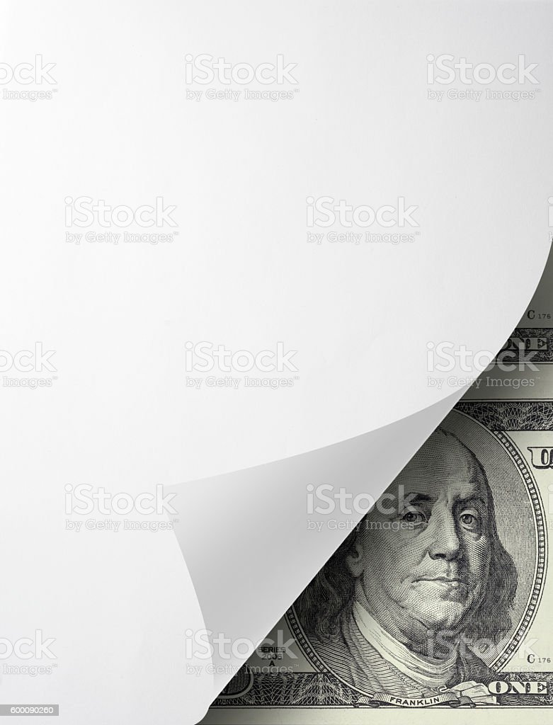blank folded paper with dollar bill stock photo