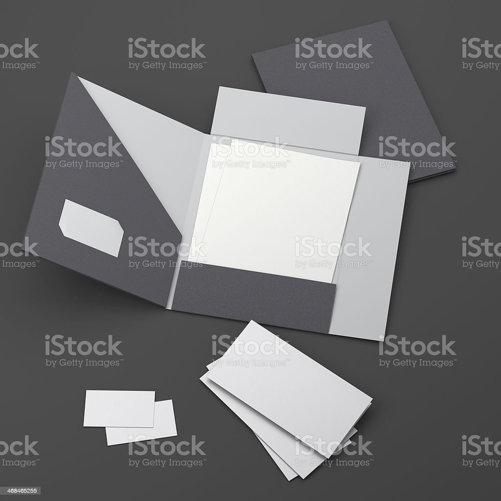 Blank Folder Leaflets And Business Cards Composition Stock Photo ...