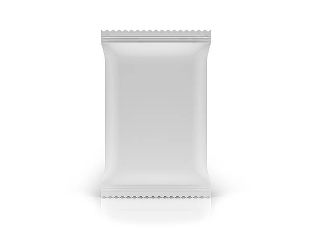 blank food bag package front view on white background - crisp packet stock photos and pictures