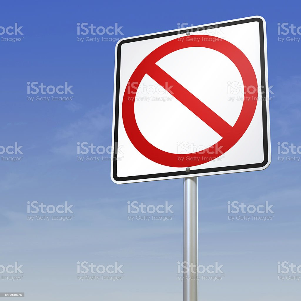 Blank forbidding sign with path stock photo