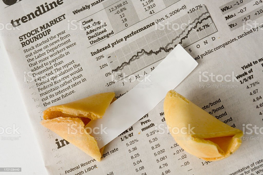 Blank Fortune Cookie for Forecasting Investments, Business, Financial Page Luck stock photo